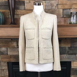 J. Crew metallic tweed cream blazer 0 $198
